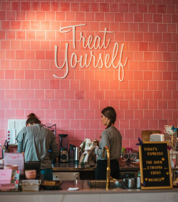 treat yourself pink wall